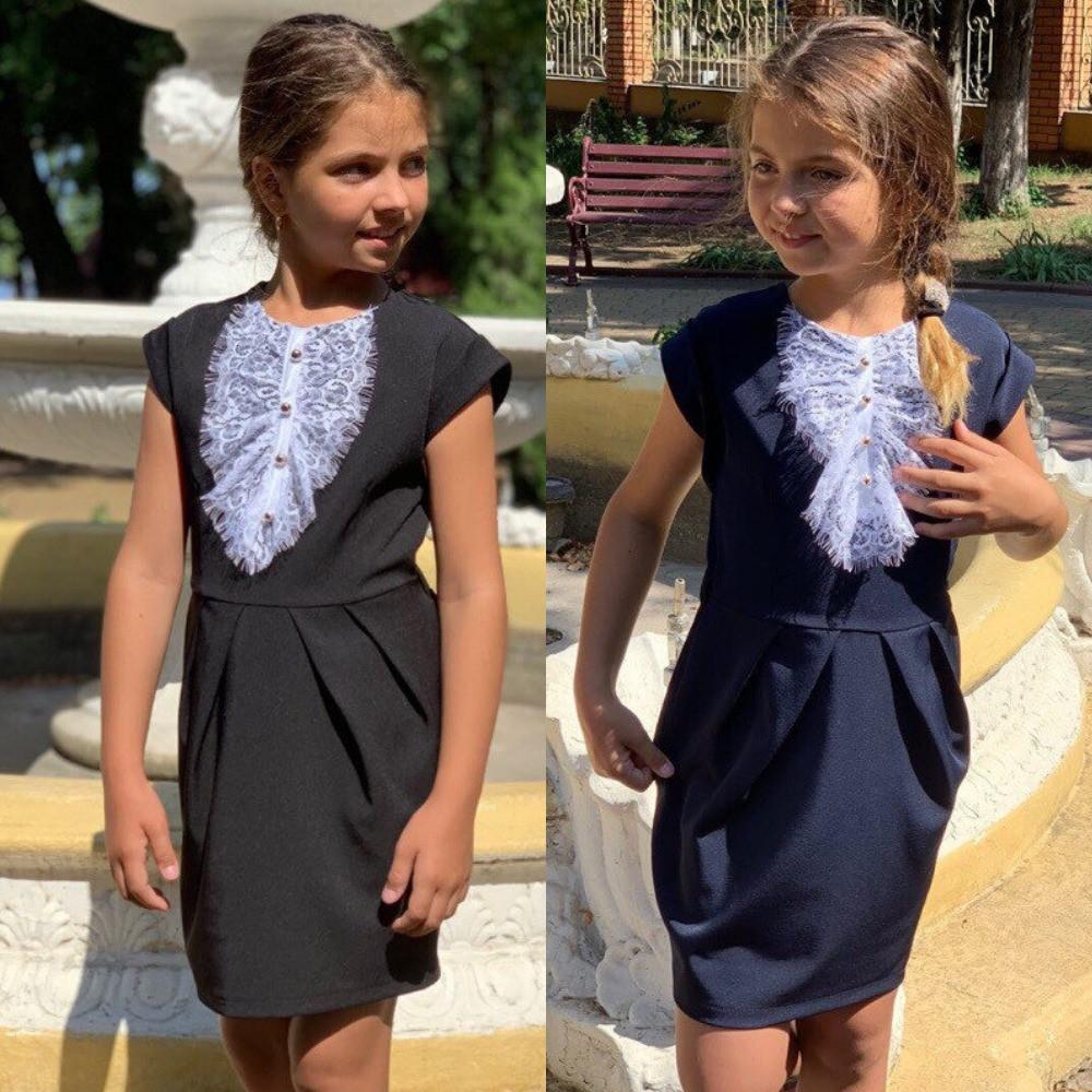 Сарафан школьный для девочки, стильный, модный, нарядный, сзади на резинке, кружевное жабо, черное, синее