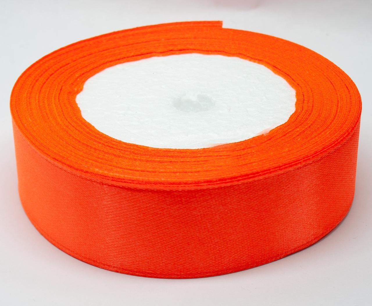 Лента атласная 23 метра 2.5 см.  Цвет-Оранжевый неон
