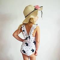 Купальник для девочки с единорогами белый, фото 1