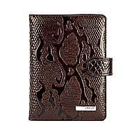 Обложка для документов кожаная Karya 438-015 лаковая коричневая