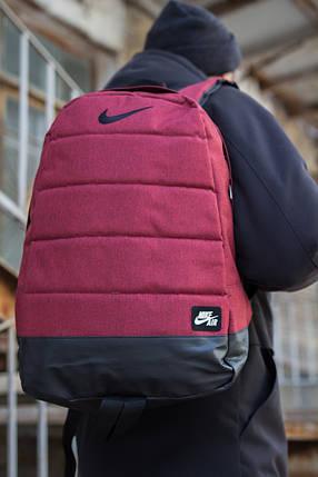 Рюкзак  Nike Городской, Спортивный, для учебы, под Ноутбук (реплика) Взрослый (подростковый) БОРДОВЫЙ, фото 2