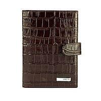 Кожаная обложка для документов под крокодила коричневая Karya 443-57