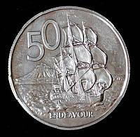 Монета Новой Зеландии 50 центов 1968 г. Корабль Индевор