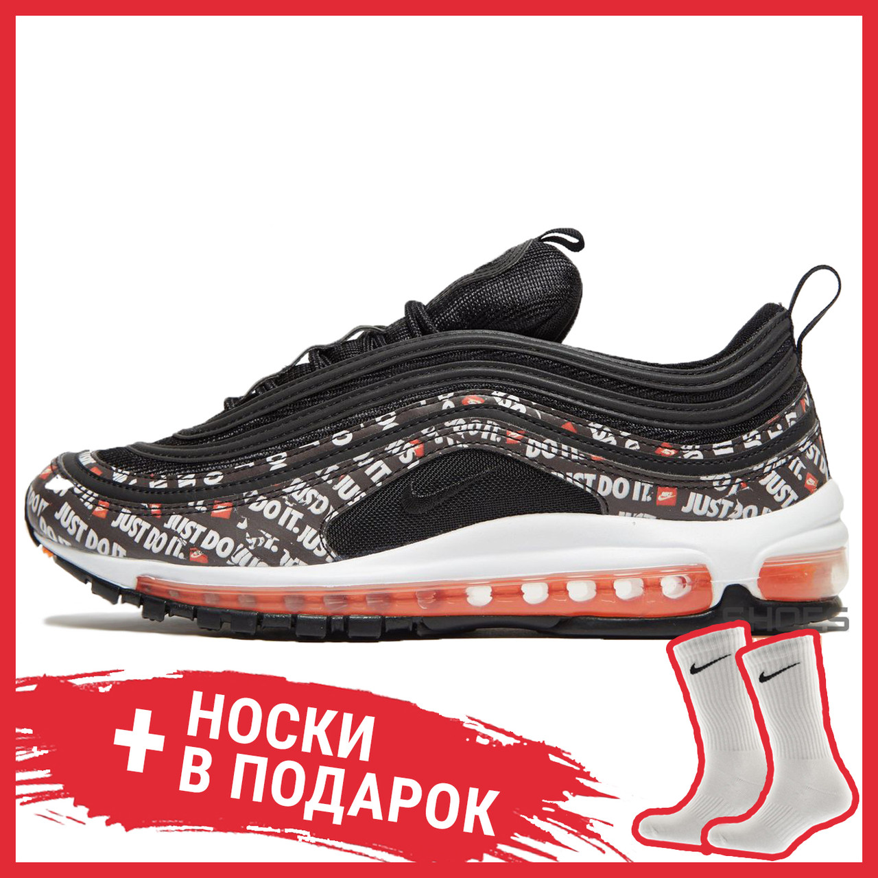 cheap for discount 033b1 f77b7 Мужские кроссовки Nike Air Max 97 Just Do it Pack Black AT8437-001, Найк  Аир Макс 97