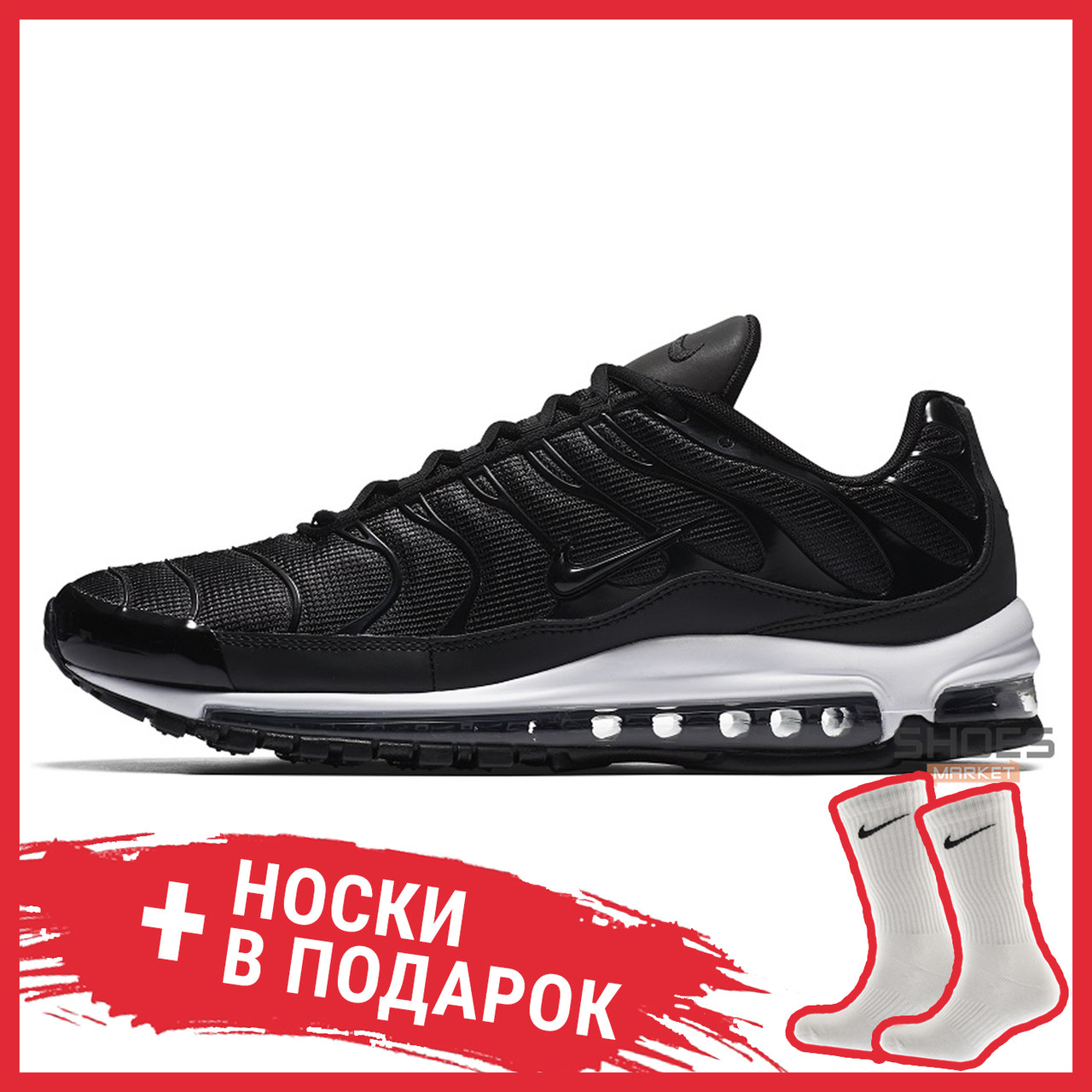 Чоловічі кросівки Nike Air Max Plus 97 Black White AH8144-001, Найк Аір Макс Плюс 97
