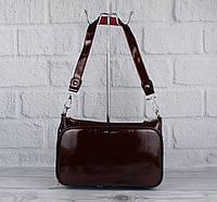 Лаковая средняя сумочка, клатч Valensiy 8822-08 марсала, фото 1