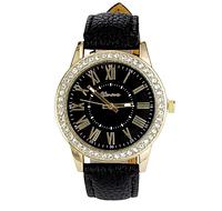 Черные часы Geneva женские кварцевые ,украшены камнями