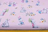 """Бязь польская """"Кролики с морковкой и книжкой"""" на розовом фоне (2394), фото 3"""