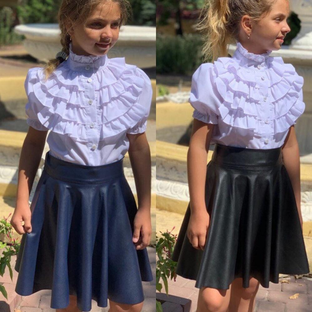 Юбка для девочки школьная, кожаная, нарядная, клешеная, на широком поясе , синяя и черная, фото в живую