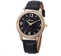Кварцевые женские часы Geneva,с черным циферблатом и черным ремешком,украшены камнями
