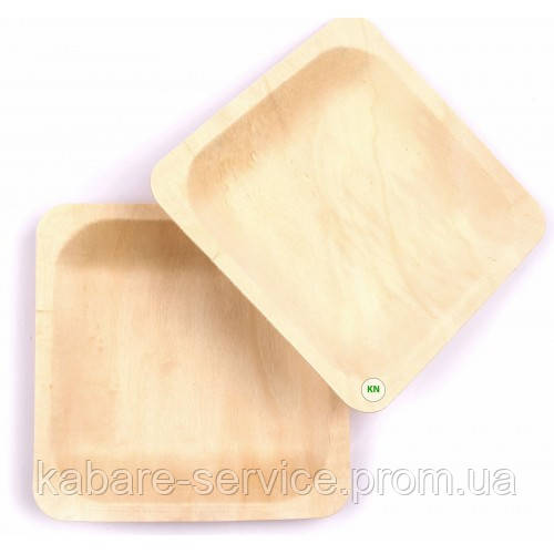 Тарелка одноразовая деревянная (квадратная) 140*140*20 мм  100 шт