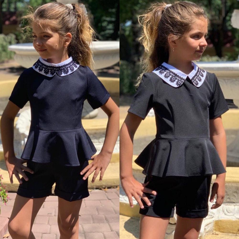 Костюм для девочки школьный, стильный, съемный воротник, синий, черный, фото в живую, качество супер!