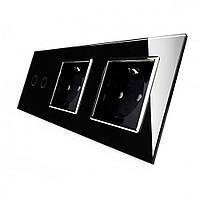 Сенсорный выключатель на 2 линии с 2 розетками Livolo, цвет черный, хром, стекло (VL-C702/C7C2EU-12C), фото 1