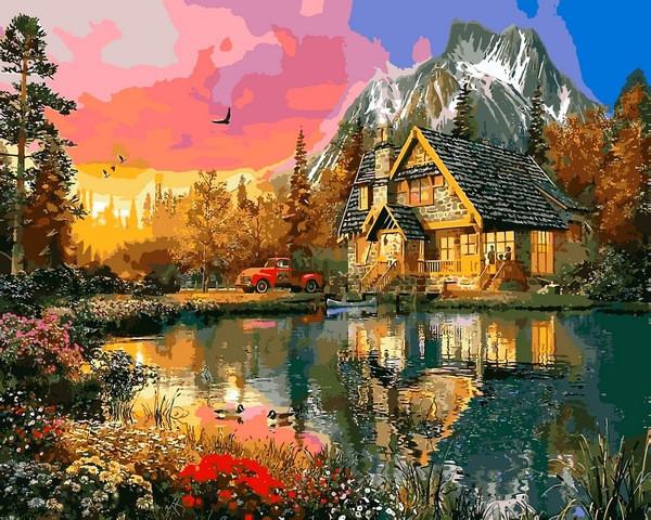 Картины раскраски по номерам 40×50 см. Горная Хижина ...