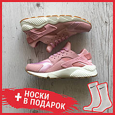 Женские кроссовки Nike Air Huarache Run Premium Pink Glaze Pearl 683 818 601, Найк Аир Хуарачи