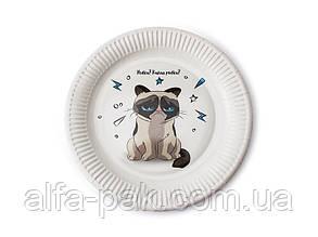 Тарелка бумажная круглая Голодный кот D23