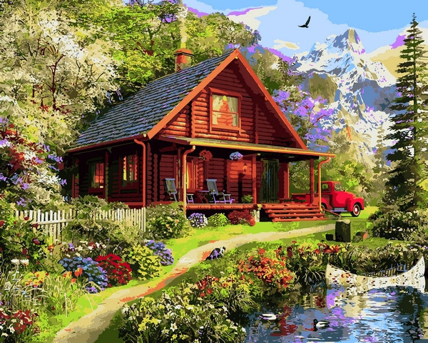 Картины раскраски по номерам 40×50 см. Дом мечты Доминик ...