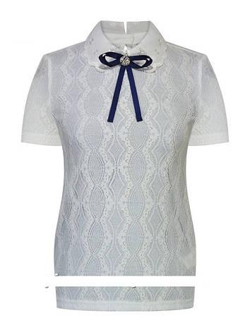 Детская школьная блуза для девочки с коротким рукавом от Deloras 62107 | 122-152р., фото 2