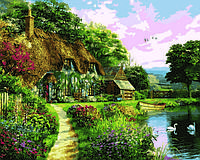 Картины раскраски по номерам 40×50 см. Домик на закате Доминик Дэвидсон
