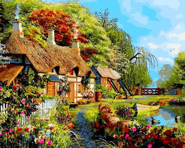 Картины раскраски по номерам 40×50 см. Дом в цветах ...