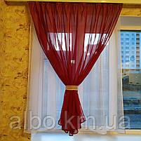 Гардина для спальни из шифона ALBO 300x170 cm Бордовая (KU-139-15), фото 2