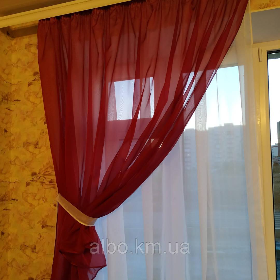Короткая тюль для спальни из шифона ALBO 300x170 cm Бордовая (KU-139-13)
