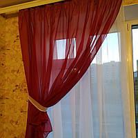 Короткая тюль для спальни из шифона ALBO 300x170 cm Бордовая (KU-139-13), фото 1