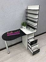 Складной черно-белый стол для маникюра с большим кол-вом полок для лаков