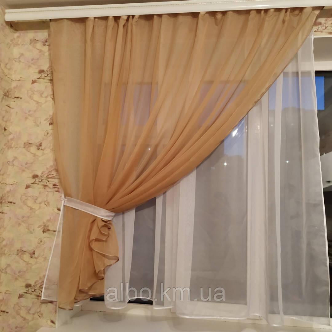 Короткая легкая шифоновая занавеска на кухню, спальню, балкон  Меган