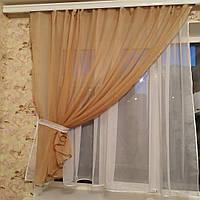 Короткая легкая шифоновая занавеска на кухню, спальню, балкон  Меган, фото 1