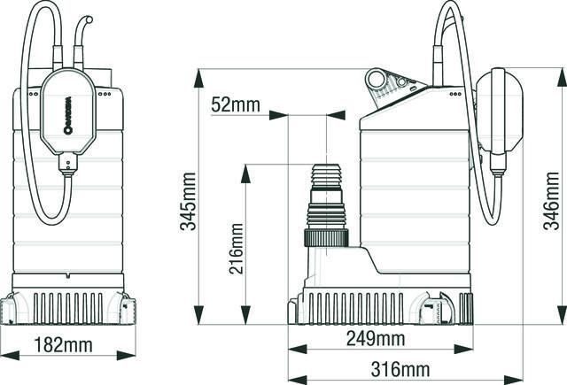 Насос дренажный для чистой воды Gardena 21000 Inox Premium габаритные размеры
