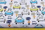 """Бязь польская """"Машинки с мишками и пальмы"""" на белом фоне (2399а), фото 3"""