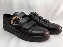 Стильные кожаные кеды,кроссовки на липучках Bertoni