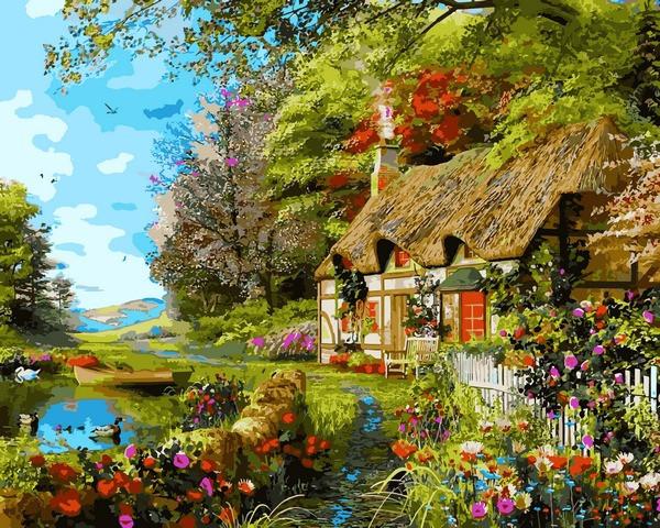Картины раскраски по номерам 40×50 см. Загородный Коттедж ...