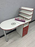 Стол для маникюра складной в бело - красном цвете