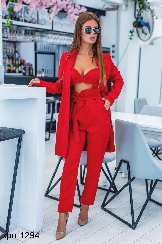 Женский стильный брючный костюм тройка с удлиненным пиджаком С, М +большие размеры