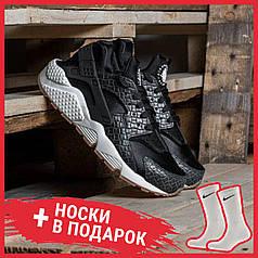Женские кроссовки Nike Air Huarache Run Premium Black 683818-011, Найк Аир Хуарачи