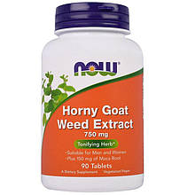 "Экстракт горянки NOW Foods ""Horny Goat Weed Extract"" 750 мг (90 таблеток)"