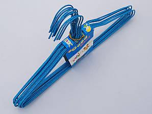 Плечики металлические проволочные в порошковой покраске синего цвета, 38,5 см,10 штук в упаковке