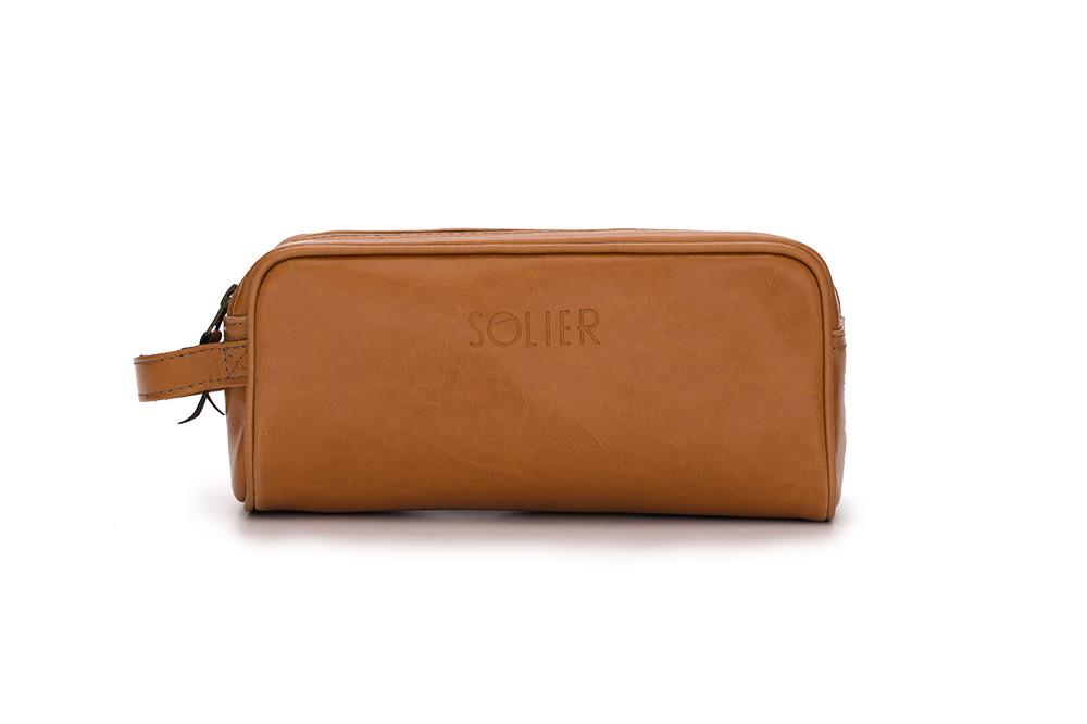 Кожаный Несессер Solier Светло-коричневый (SK02Camel)