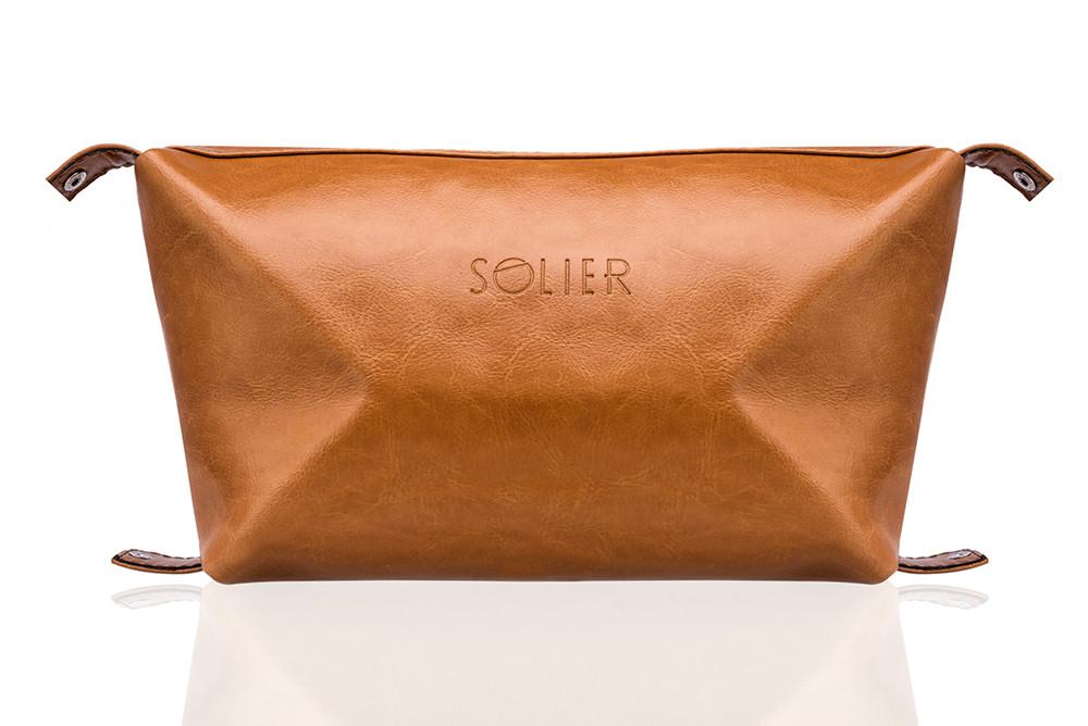 Кожаный Несессер Solier Светло-коричневая (SK01Camel)