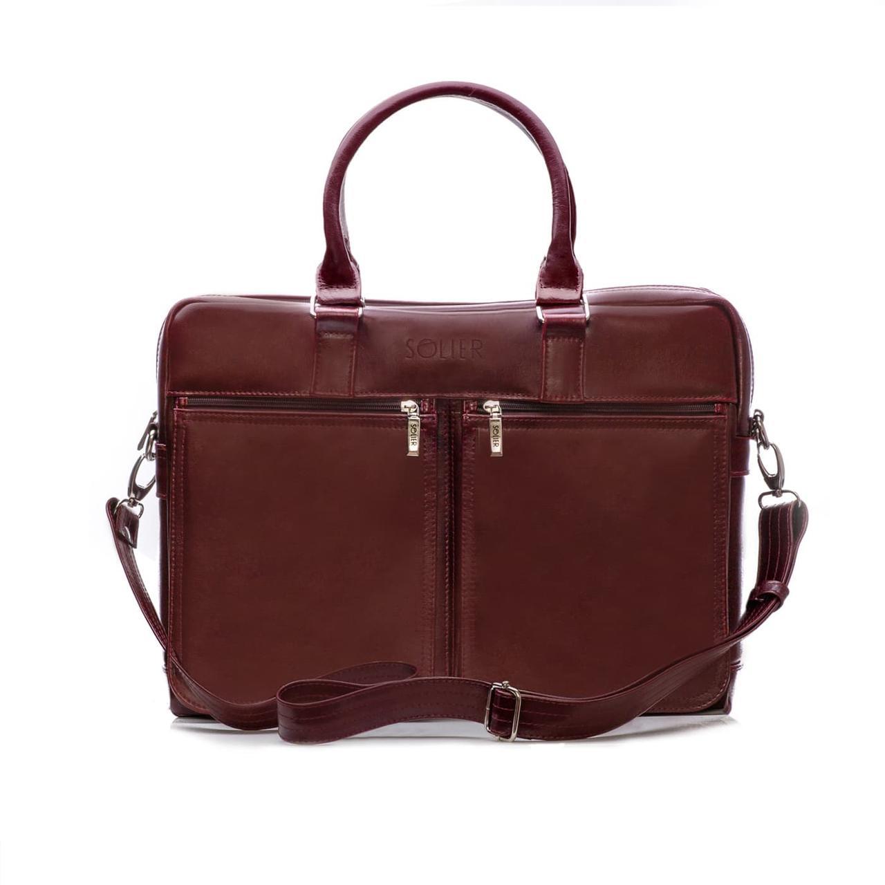 """Мужская кожаная сумка для ноутбука Solier 17"""" Каштановая (SL01Maroon)"""