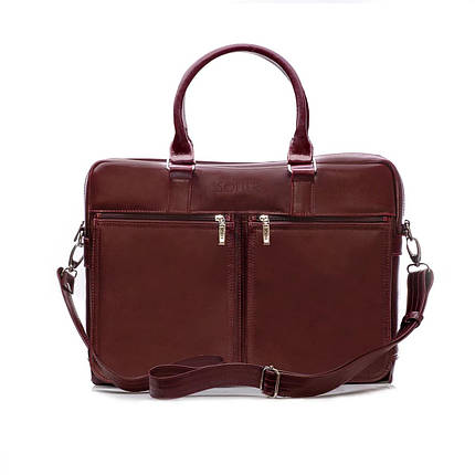 "Мужская кожаная сумка для ноутбука Solier 17"" Каштановая (SL01Maroon), фото 2"