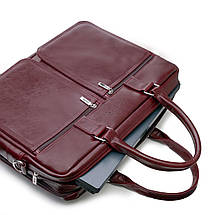 "Мужская кожаная сумка для ноутбука Solier 17"" Каштановая (SL01Maroon), фото 3"