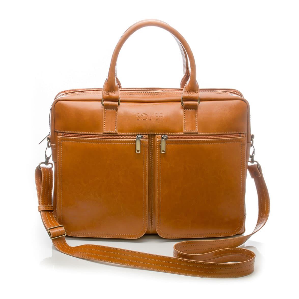 """Мужская кожаная сумка для ноутбука Solier 17"""" Коричневая (SL01Camel)"""