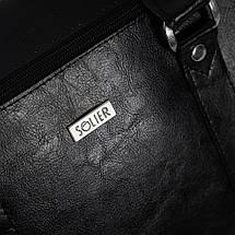 """Мужская кожаная сумка для ноутбука Solier 17"""" Черная (SL03Black), фото 3"""
