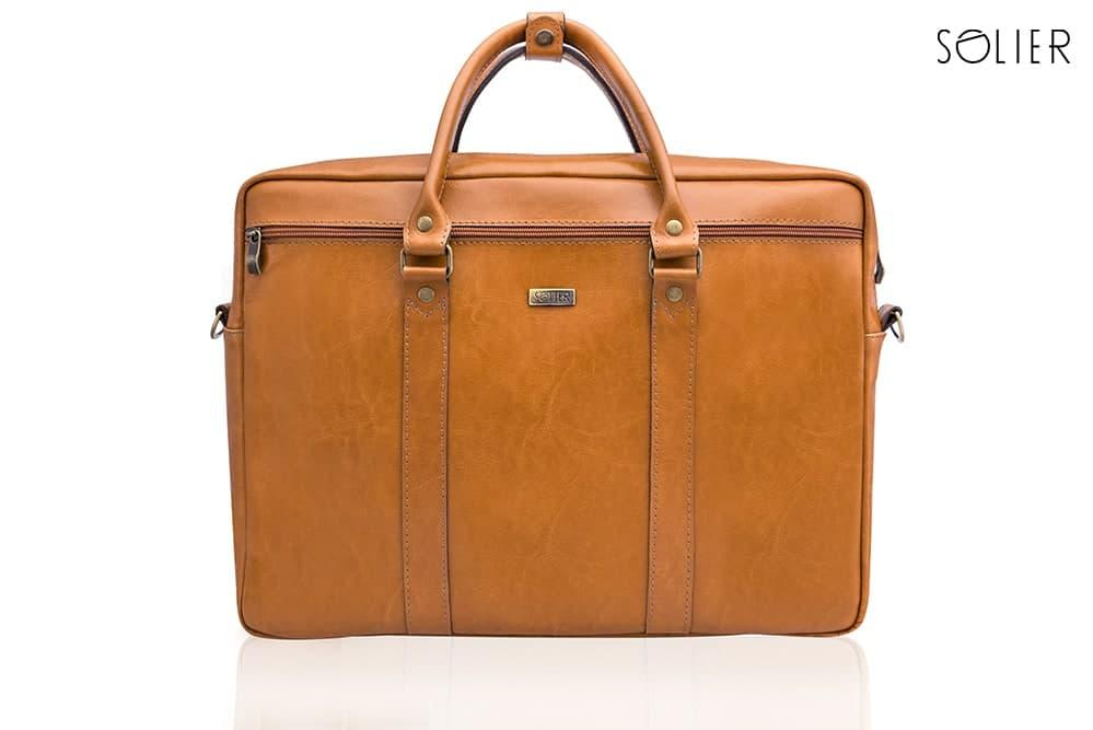 """Мужская кожаная сумка для ноутбука Solier 17"""" Коричневый (SL03Camel)"""