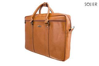 """Мужская кожаная сумка для ноутбука Solier 17"""" Коричневый (SL03Camel), фото 3"""