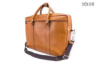 """Мужская кожаная сумка для ноутбука Solier 17"""" Коричневый (SL03Camel), фото 2"""