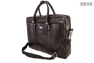"""Мужская кожаная сумка для ноутбука Solier 17"""" Коричневая (SL03Brown), фото 3"""